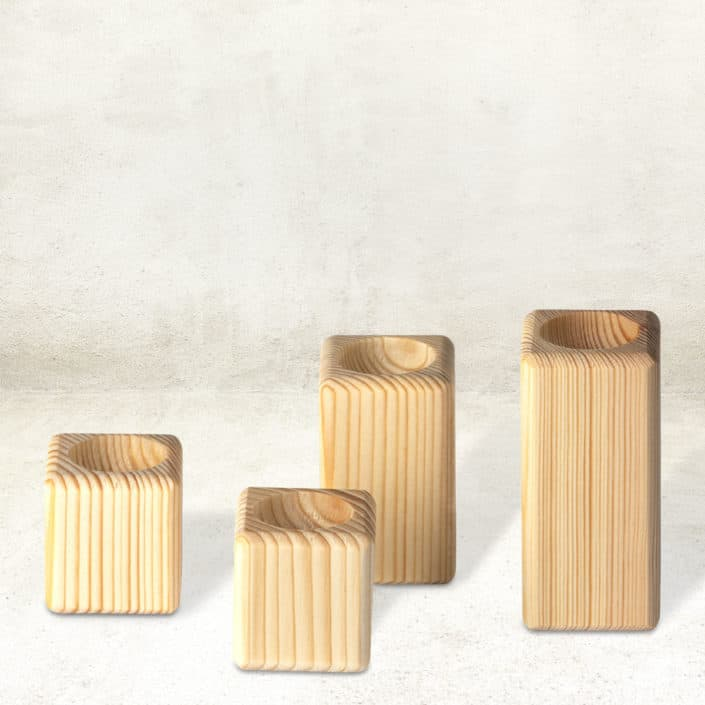 Wachteleibecher aus Holz (4er-Set)