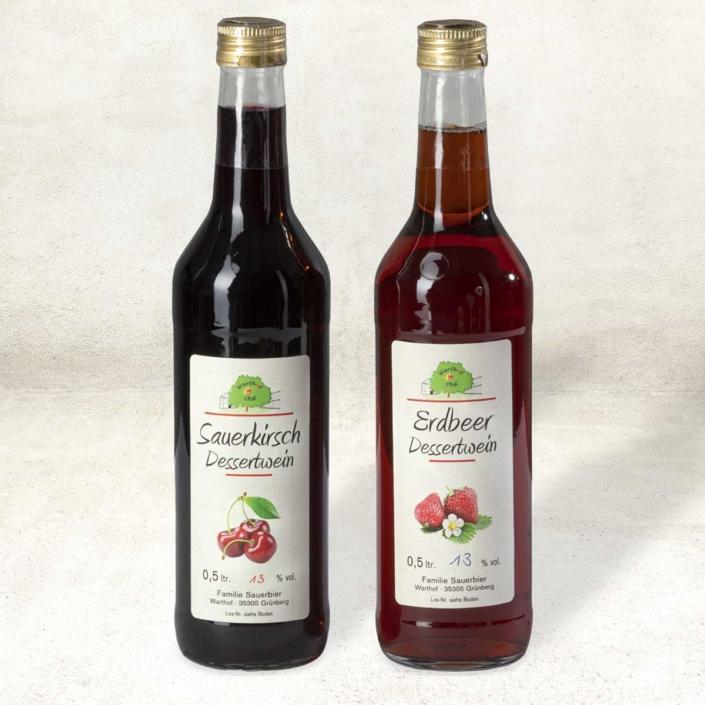 Dessertweine Sauerkirsch und Erdbeer