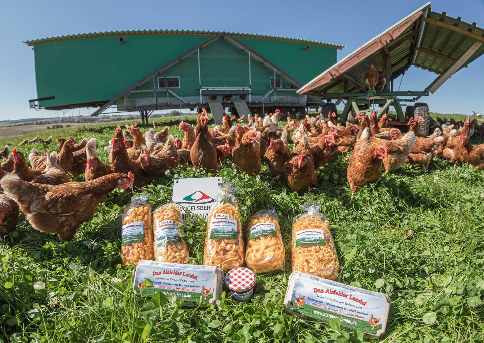 Hühner und Produkte